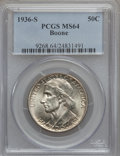 Commemorative Silver: , 1936-S 50C Boone MS64 PCGS. PCGS Population (348/722). NGC Census:(176/634). Mintage: 5,006. Numismedia Wsl. Price for pro...