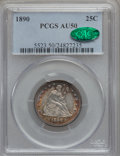 Seated Quarters: , 1890 25C AU50 PCGS. CAC. PCGS Population (8/176). NGC Census:(1/170). Mintage: 80,000. Numismedia Wsl. Price for problem f...
