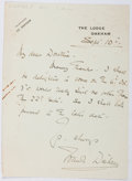 Autographs:Artists, Frank Dicksee (1853-1928, British Artist). Autograph Letter Signed. Very good....