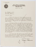 Autographs:Statesmen, J. Edgar Hoover (1895-1972, Director of the FBI). Typed LetterSigned. Very good....