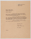 Autographs:Authors, Carl Carmer (American Writer, 1893-1976). Typed Letter Signed. Very good....