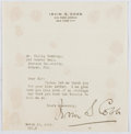 Autographs:Authors, Irvin S. Cobb (1876-1944, American Writer). Typed Letter Signed. Mounting residue to verso. Very good....