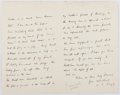 Autographs:Authors, Ada Ellen Bayle [Edna Lyall] (British Novelist, 1857-1903).Autograph Letter Signed. Small areas of mounting residue on vers...