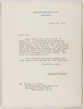 Autographs:Statesmen, Spruille Braden (1894-1978, Assistant Secretary of State). TypedLetter Signed. Mounted to heavy stock. Very good....