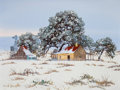 Fine Art - Painting, American:Contemporary   (1950 to present)  , WILLIAM A. SLAUGHTER (American, 1923-2003). Cabin in theSnow. Oil on canvas. 18 x 24 inches (45.7 x 61.0 cm). Signedlo...