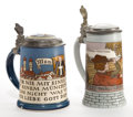 Ceramics & Porcelain, Continental:Antique  (Pre 1900), TWO METTLACH EARTHENWARE STEINS . Mettlach, Germany, circa 1900.Marks: (castle) METTLACH, VB, GES GESCH, 2002, II, C, 19,...(Total: 2 Items)