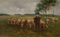 Fine Art - Painting, American, ELOISE POLK MCGILL (American, 1869-1939). Herding the Cows onthe Pasture. Oil on canvas . 18 x 30 inches (45.7 x 76.2 c...