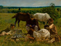 Latin American:Contemporary, AZNIEL HERRERA (Cuban, 20th Century). A Gathering in theField, 2005. Oil on panel. 26 x 34-1/2 inches (66.0 x 87.6cm)...