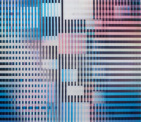 YAACOV AGAM (Israeli, b. 1928) Untitled Color agamograph Sight: 12-1/2 x 14-1/2 inches (31.8 x 36