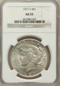 Peace Dollars: , 1927-S $1 AU55 NGC. NGC Census: (106/2964). PCGS Population(138/4397). Mintage: 866,000. Numismedia Wsl. Price for problem...