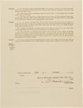 Autographs:Others, 1925 Christy Mathewson Signed Boston Braves Contract. ...