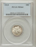 Barber Dimes: , 1915 10C MS64 PCGS. PCGS Population (113/57). NGC Census: (93/49).Mintage: 5,620,450. Numismedia Wsl. Price for problem fr...