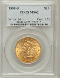 Liberty Eagles: , 1898-S $10 MS62 PCGS. PCGS Population (124/44). NGC Census:(128/22). Mintage: 473,600. Numismedia Wsl. Price for problem f...
