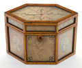 Paintings, AN ENGLISH QUILLWORK AND SATINWOOD TEA CADDY . Circa 1800. 5-3/8 inches high (13.5 cm). ...