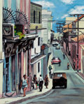 Latin American:Contemporary, MARÍA VICTORIA PORTELLES (Cuban, 20th Century). La Calle.Oil on canvas. 19 x 15-1/2 inches (48.3 x 39.4 cm). Initialed ...