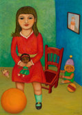 Latin American:Contemporary, ARTURO REGUEIRO (20th Century). Girl with Doll, 2000. Oil oncanvas. 28 x 20 inches (71.1 x 50.8 cm). Signed lower right...