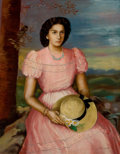 Latin American:Contemporary, ALONSO DIAZ (Cuban, 20th Century). Seated Woman. Oil oncanvas . 37 x 29 inches (94.0 x 73.7 cm). Signed lower right:...