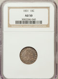 Bust Dimes: , 1831 10C AU50 NGC. NGC Census: (7/241). PCGS Population (28/206).Mintage: 771,350. Numismedia Wsl. Price for problem free ...