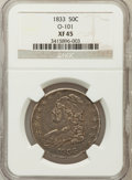 Bust Half Dollars, 1833 50C XF45 NGC. O-101. NGC Census: (124/998). PCGS Population(178/971). Mintage: 5,206,000. Numismedia Wsl. Price for p...