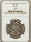 Bust Half Dollars, 1833 50C VF35 NGC. O-106. NGC Census: (36/1189). PCGS Population(65/1281). Mintage: 5,206,000. Numismedia Wsl. Price for p...