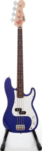 Musical Instruments:Bass Guitars, 2005 Squire by Fender Precision Bass Blue Electric Bass Guitar, Serial # IC050516286....