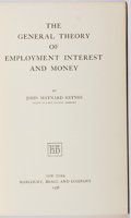 Books:Business & Economics, John Maynard Keynes. The General Theory of Employment Interestand Money. Harcourt, Brace, 1936. First American edit...