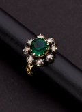 Estate Jewelry:Rings, Antique Green Stone & Diamond Gold Ring. ...