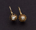 Estate Jewelry:Earrings, Early Victorian Rose-Cut Diamond Gold Earrings. ...
