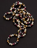 Estate Jewelry:Necklaces, Multi-Color Freshwater Cultured Pearl Necklace. ...