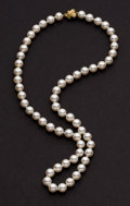 Estate Jewelry:Pearls, Tiffany & Co. Cultured Pearl & Gold Necklace. ...
