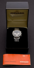 Timepieces:Wristwatch, Movado Datron Automatic Steel Chronograph, Original Box &Papers. ...