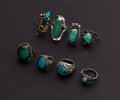 Estate Jewelry:Rings, A Lot Of Eight Turquoise & Sterling Rings. ... (Total: 8 Items)