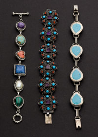 Three Sterling & Turquoise Bracelets
