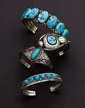 Estate Jewelry:Bracelets, Four Turquoise & Sterling Cuff Bracelets. ... (Total: 4 Items)