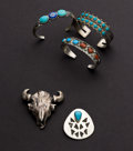 Estate Jewelry:Other , Sterling Three Turquoise Bracelets & One Bolo & One Pendant. ... (Total: 4 Items)