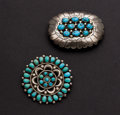 Estate Jewelry:Brooches - Pins, Two Turquoise & Silver Pins. ... (Total: 2 Items)