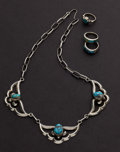 Estate Jewelry:Other , One Turquoise Necklace & Three Turquoise & Sterling Rings. ... (Total: 4 Items)
