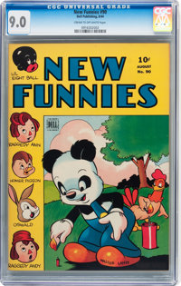 New Funnies #90 (Dell, 1944) CGC VF/NM 9.0 Cream to off-white pages