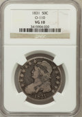 Bust Half Dollars, 1831 50C VG10 NGC. O-110. NGC Census: (3/1493). PCGS Population(7/1647). Mintage: 5,873,660. Numismedia Wsl. Price for pro...