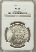 Morgan Dollars: , 1921-S $1 MS62 NGC. NGC Census: (703/9001). PCGS Population(1186/7436). Mintage: 21,695,000. Numismedia Wsl. Price for pro...
