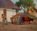 Fine Art - Painting, American, ELLA MARIE KOEPKE MEWHINNEY (American, 1891-1962). Mexican Ranch. Oil on canvas laid on board. 12 x 9-1/2 inches (30.5 x...
