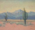 Fine Art - Painting, American:Modern  (1900 1949)  , GEORGE SANDERS BICKERSTAFF (American, 1893-1954). SouthwesternLandscape. Oil on canvas. 20-1/4 x 23-3/4 inches (51.4 x ...