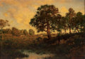 Fine Art - Painting, American:Other , HENRY PEMBER SMITH (American, 1854-1907). Sunset Landscape.Oil on canvas. 10 x 14 inches (25.4 x 35.6 cm). Signed lower...