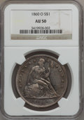 Seated Dollars: , 1860-O $1 AU50 NGC. NGC Census: (24/582). PCGS Population (64/864).Mintage: 515,000. Numismedia Wsl. Price for problem fre...