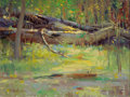 Fine Art - Painting, American:Contemporary   (1950 to present)  , RAY VINELLA (American, b. 1933). Fallen Logs Over a Marsh.Oil on canvas. 12 x 16 inches (30.5 x 40.6 cm). Signed and in...