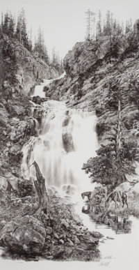 PAUL CALLE (American, b. 1928) Pause at the Lower Falls, 1978 Offset lithograph 29-1/2 x 15-1/4 i