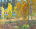 Fine Art - Painting, American:Contemporary   (1950 to present)  , KEVIN MACPHERSON (American, b. 1956). Shimmering Aspens. Oil on canvas. 16 x 20 inches (40.6 x 50.8 cm). Signed lower ri...
