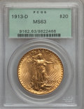 Saint-Gaudens Double Eagles: , 1913-D $20 MS63 PCGS. PCGS Population (1211/1610). NGC Census:(1083/992). Mintage: 393,500. Numismedia Wsl. Price for prob...