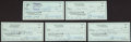 Football Collectibles:Others, Bob Waterfield Signed Checks Lot of 5....