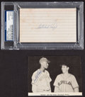 Baseball Collectibles:Others, Satchel Paige Signed Photograph Clipping and Index Card....